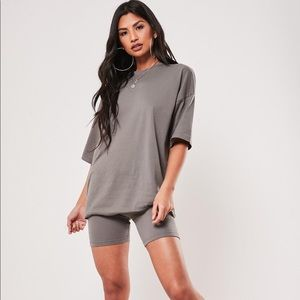 MISSGUIDED biker short and tee set